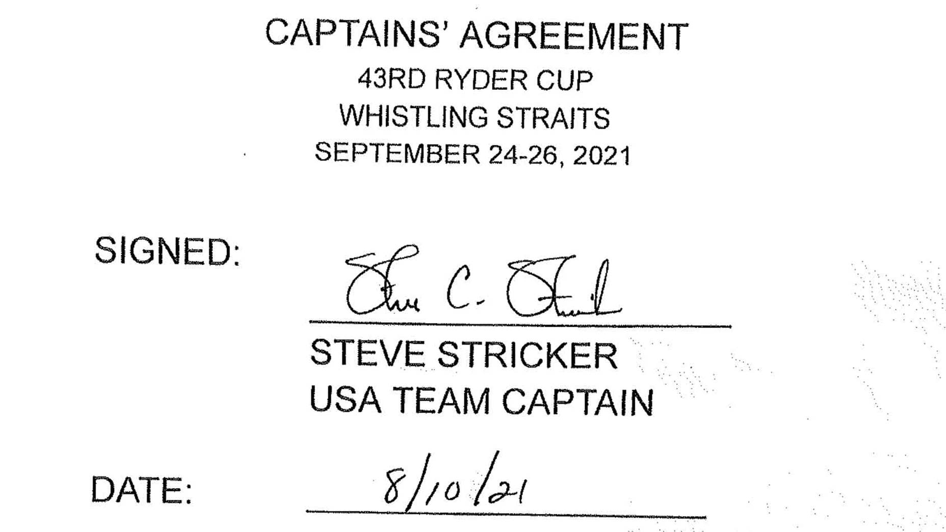 Ryder Cup captains' agreement