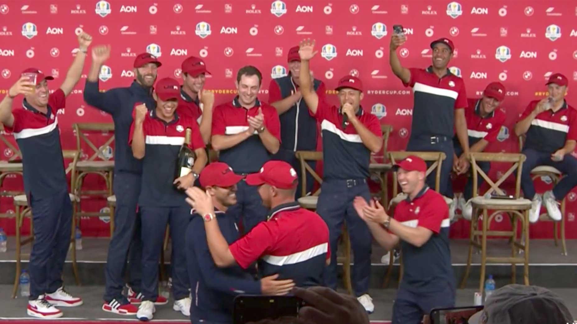 The U.S. Ryder cup team celebrates