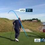 Golfer hits shot at Ryder Cup
