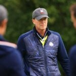 Steve stricker at the ryder cup on tuesday.