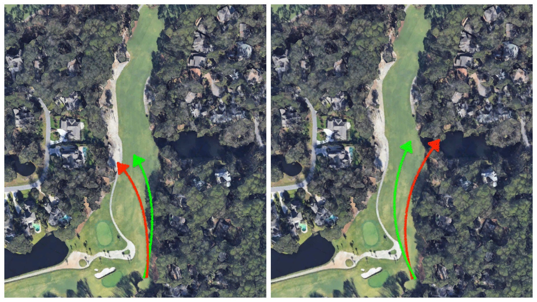 Two frames of a golf hole at Harbour Town Golf Links