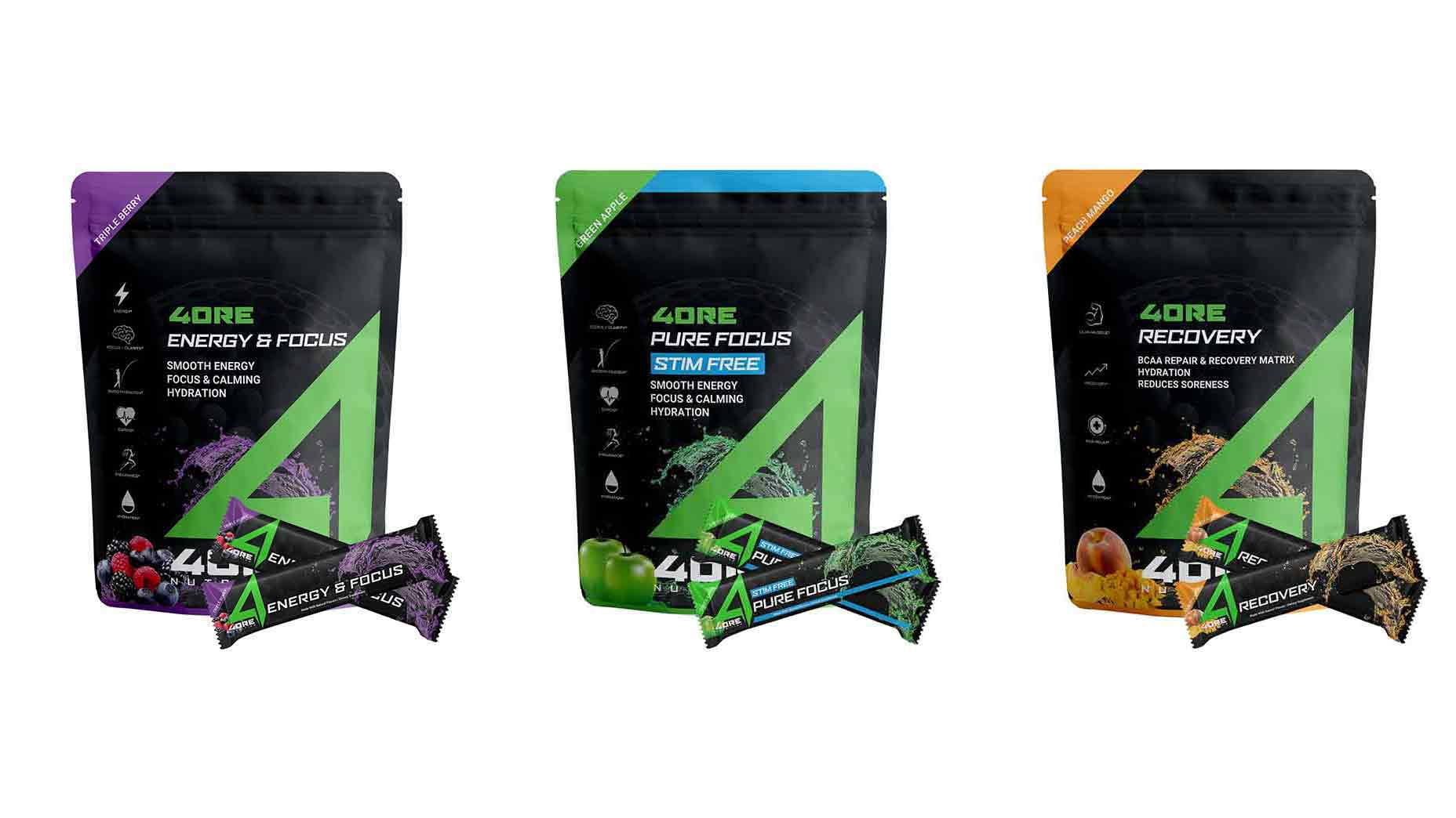Three packages of 4ore Nutrition's supplements in a row.
