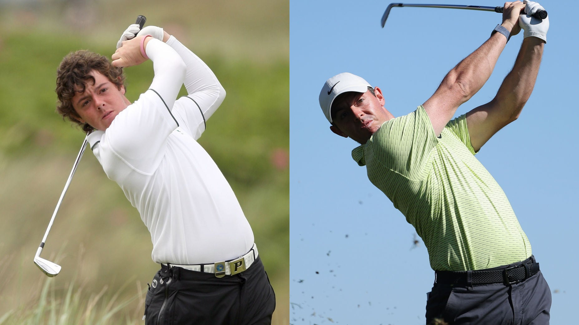 Two frames of Rory McIlroy swinging a golf club, the left in 2010 and the right in modern day