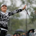 Jin Young Ko raises hands in air after winning 2021 LPGA Founders Cup