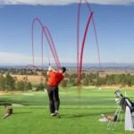 Golfer with flight path showing a two-way miss