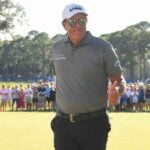 Phil Mickelson flashes a thumbs-up after winning on the Champions tour