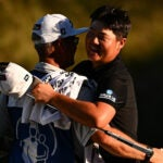 Sungjae Im of South Korea celebrates at the end of his final round of the Shriners Children's Open at TPC Summerlin on October 10, 2021 in Las Vegas, Nevada. (Photo by Alex Goodlett/Getty Images)