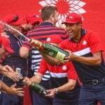 Tony Finau sprays chamapgne in celebration at the 2021 Ryder Cup