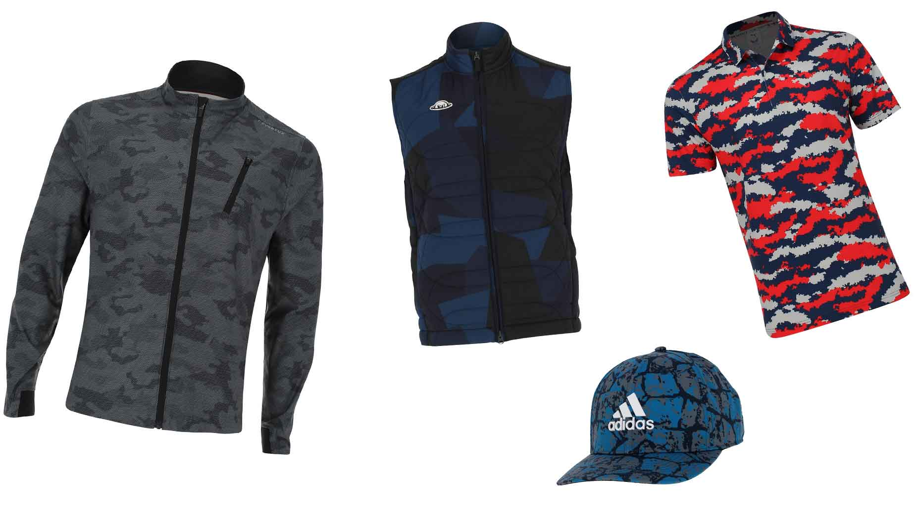 A collection of camouflage-printed apparel