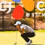 Hanbyeol Kim plays during a practice round prior to The CJ Cup at The Summit Club in Las Vegas, Nevada.
