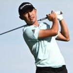 Collin Morikawa hits a tee shot during the 2021 CJ Cup in Las Vegas