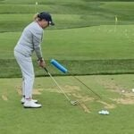 Cristie Kerr performs a golf practice drill on the driving range at the LPGA Founders Cup