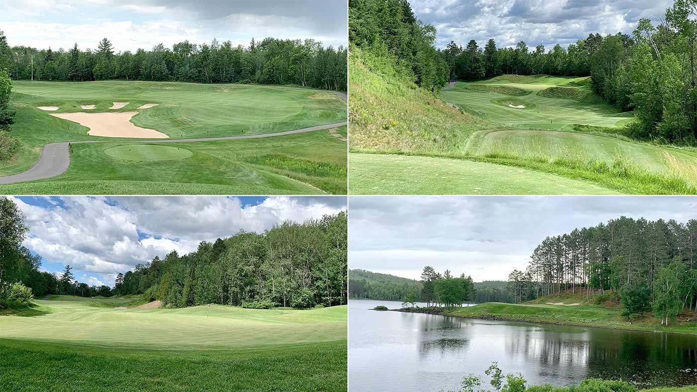 Four photos of giants ridge golf resort in minnesota.