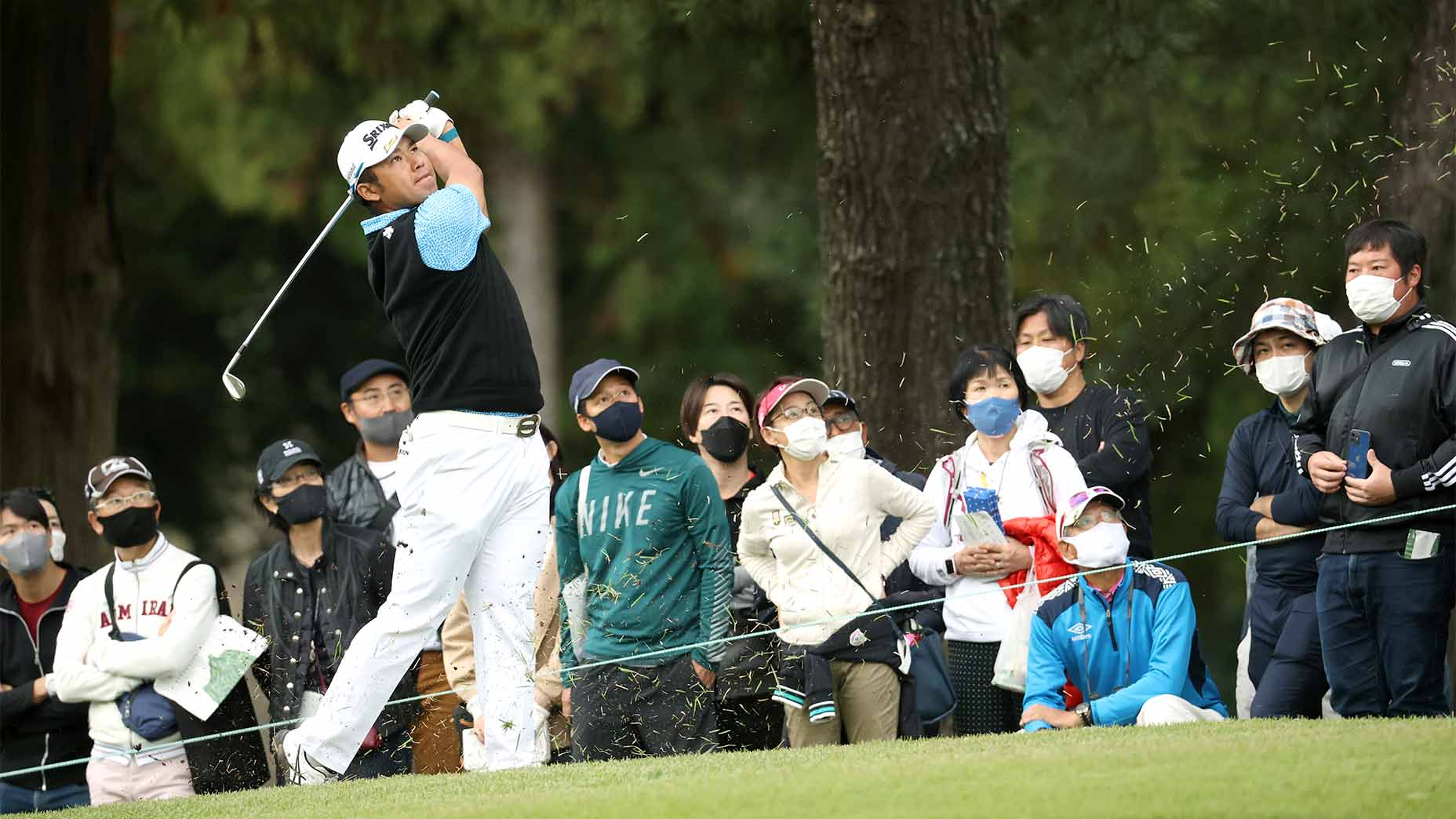 Hideki Matsuyama hits his second shot on the 15th hole during the first round of the Zozo Championship