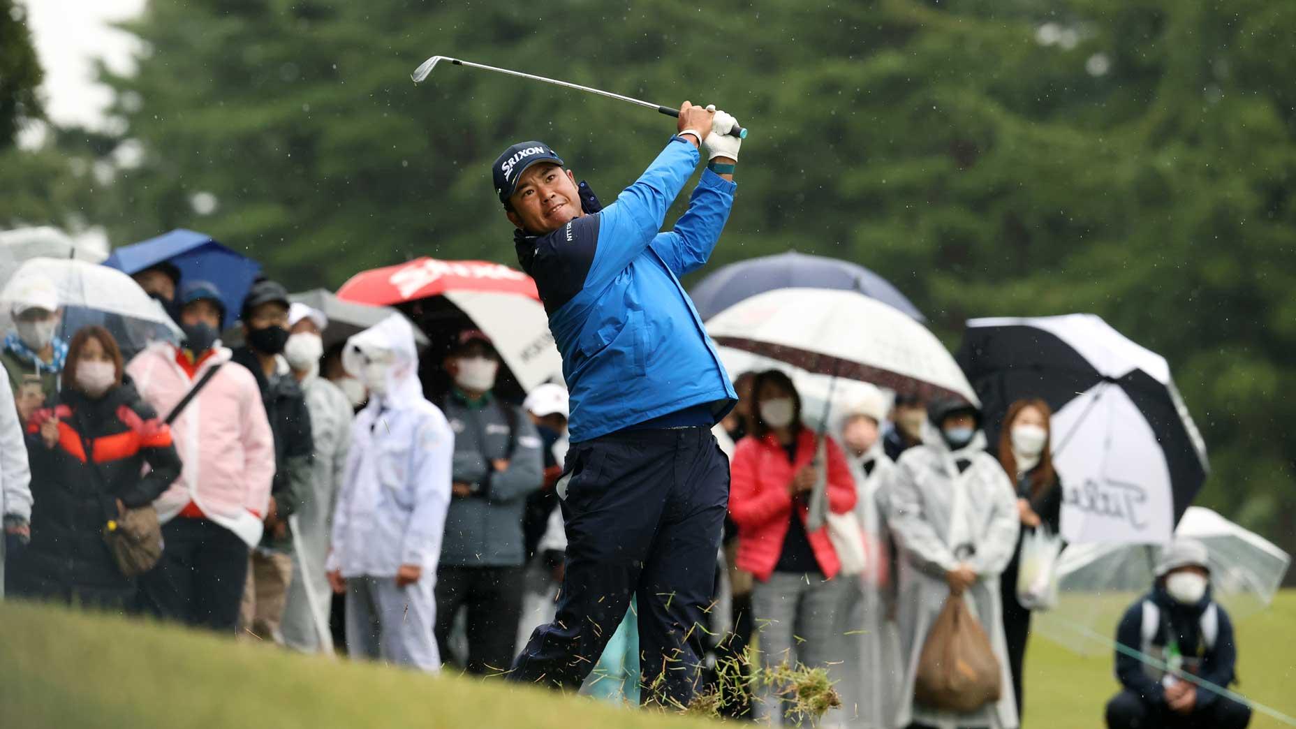 Hideki Matsuyama plays an iron shot during Round 3 of the 2021 Zozo Championship