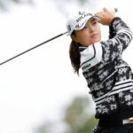 Jin Young Ko hits a tee shot on the 2nd hole during the final round of the Cognizant Founders Cup