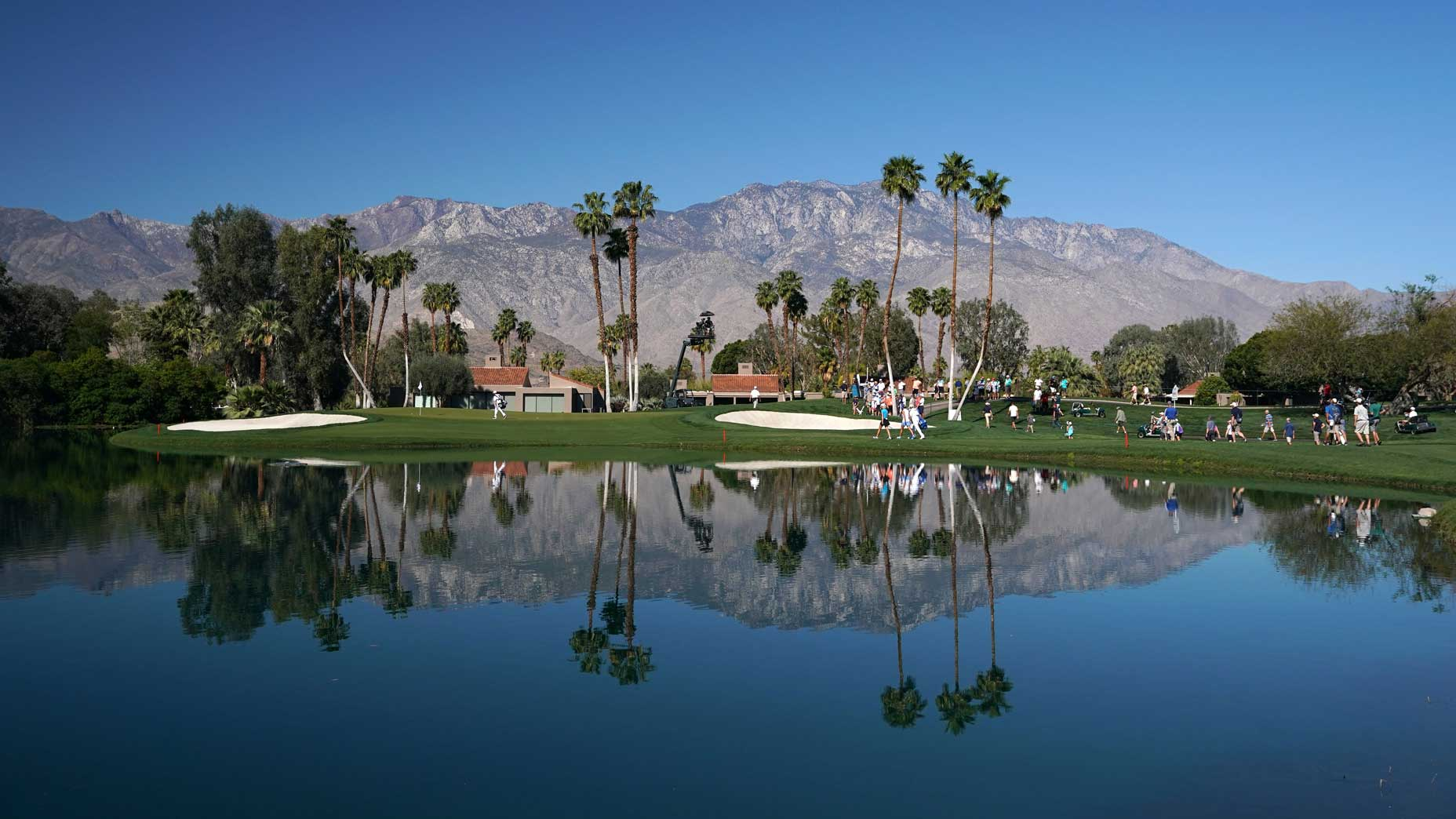 A wide view of mission hills country club's golf course