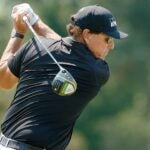 Phil Mickelson hits driver during 2021 U.S. Open at Torrey Pines