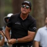 Phil Mickelson plays shot during the PGA TOUR Champions Constellation FURYK & FRIENDS