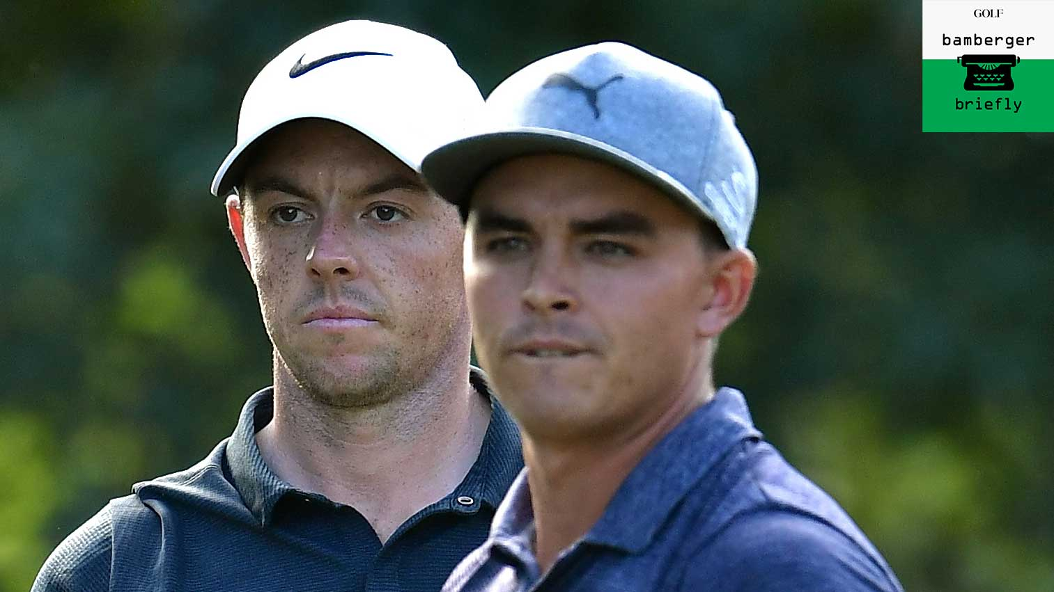 Rory McIlroy of Northern Ireland and Rickie Fowler of the United States prepare to tee off on the 16th tee during the first round of the 2017 PGA Championship at Quail Hollow Club on August 10, 2017 in Charlotte, North Carolina.