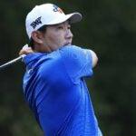 Sung Kang hits tee shot on 16th hole during 2021 Sanderson Farms Championship