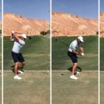 Four frames of bryson dechambeau's swing sequence at the 2021 world long drive championships
