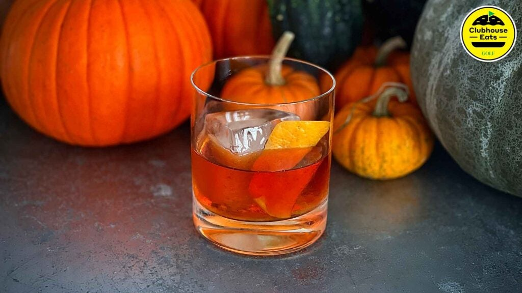 A close-up of a whiskey old fashioned cocktail