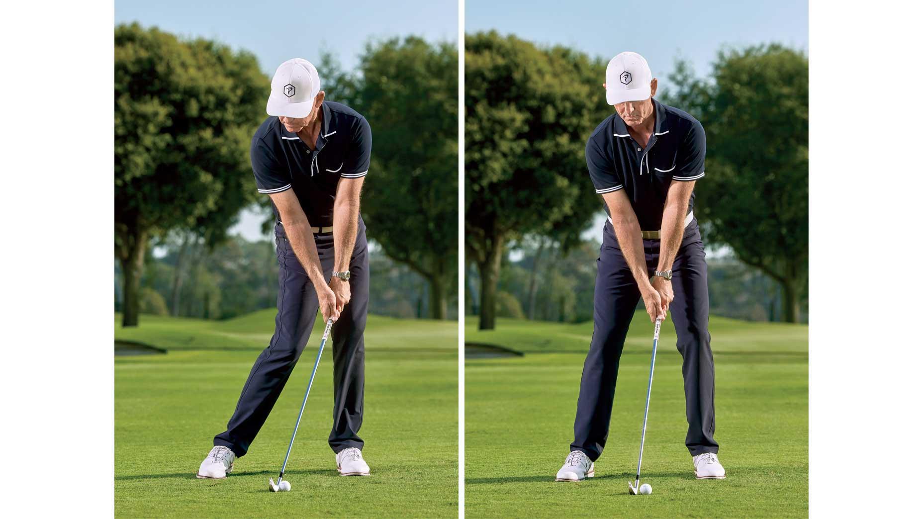man swings golf club